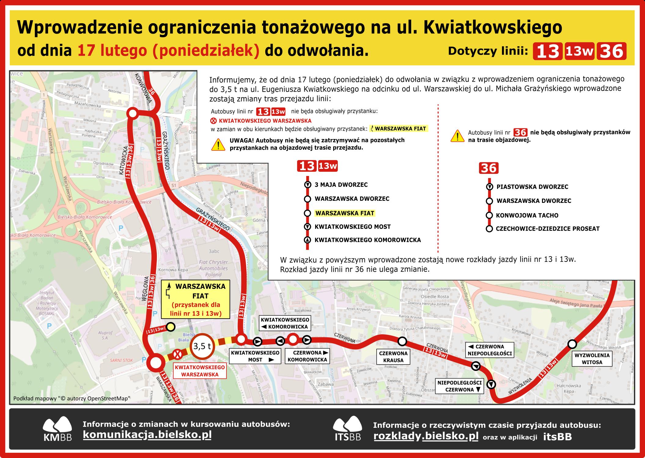 Schemat objazdu zamknięcie ul. Kwiatkowskiego