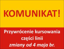 komunikat - zmiany od 4 maja