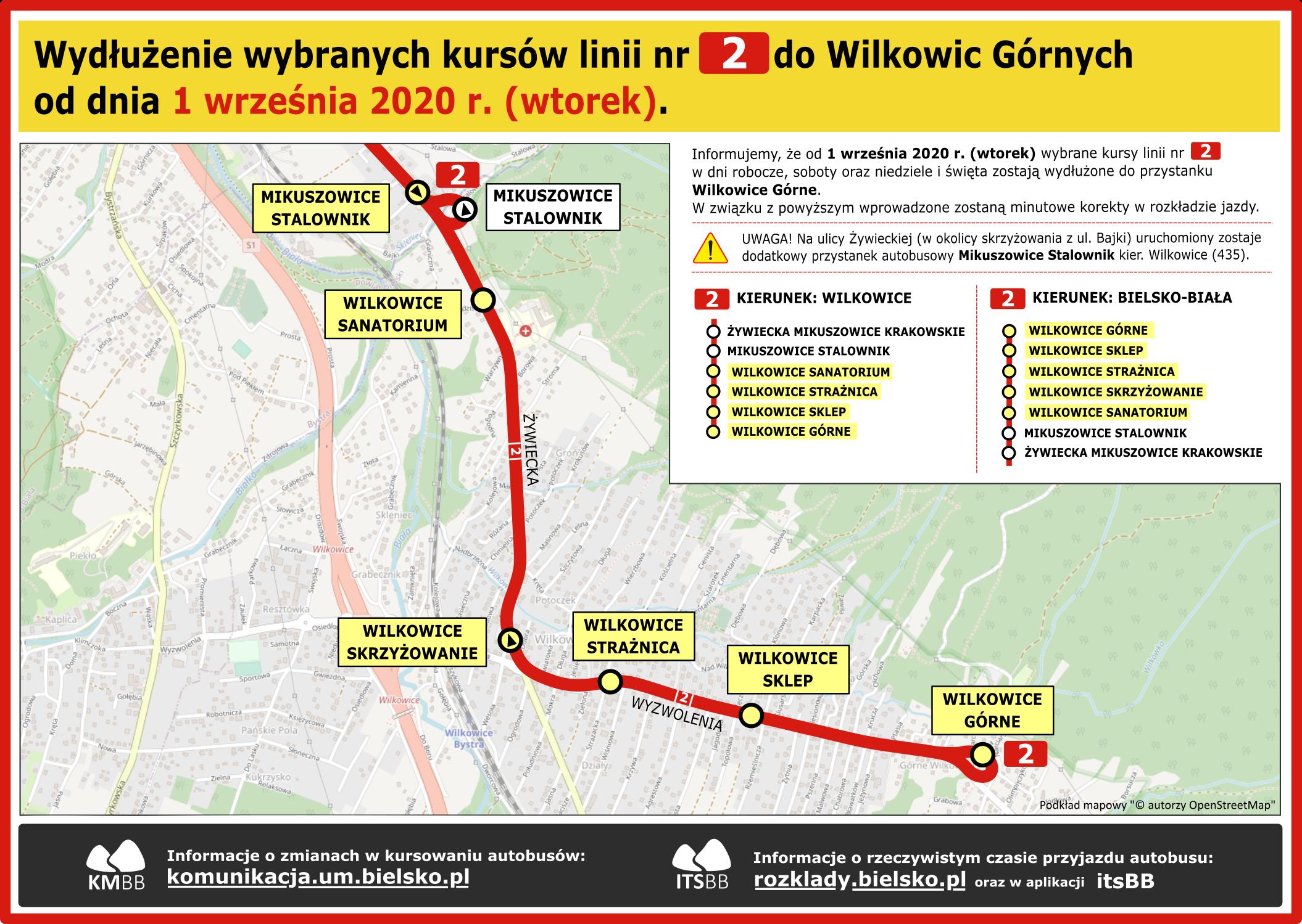 Schemat wydłużonych kursów do Wilkowic.