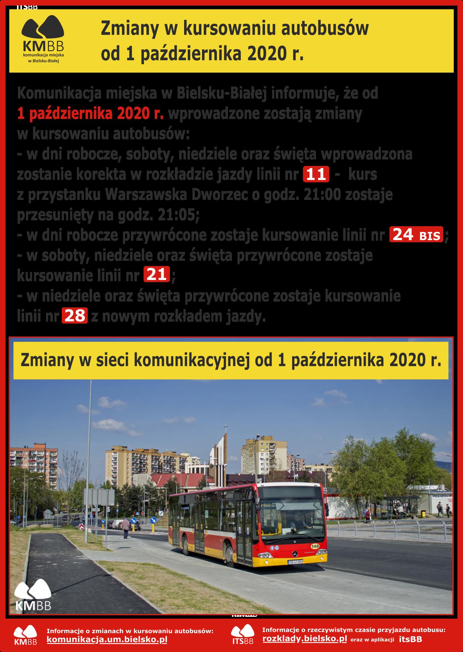 Zmiany w kursowaniu autobusów od 1 października