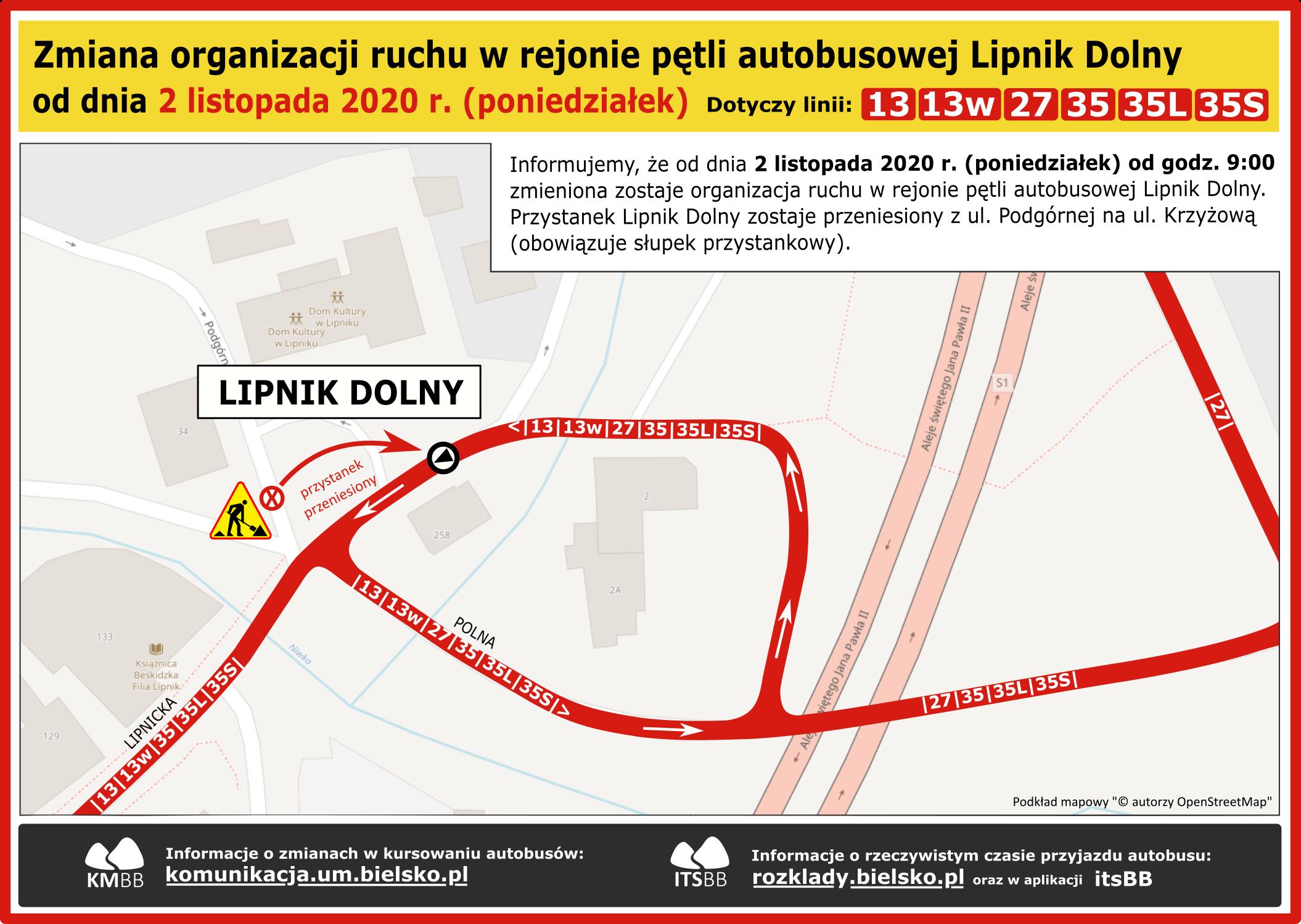 Zmiana organizacji ruchu Lipnik Dolny