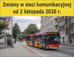 Zmiany w sieci komunikacyjnej od 2 listopada 2020 r.