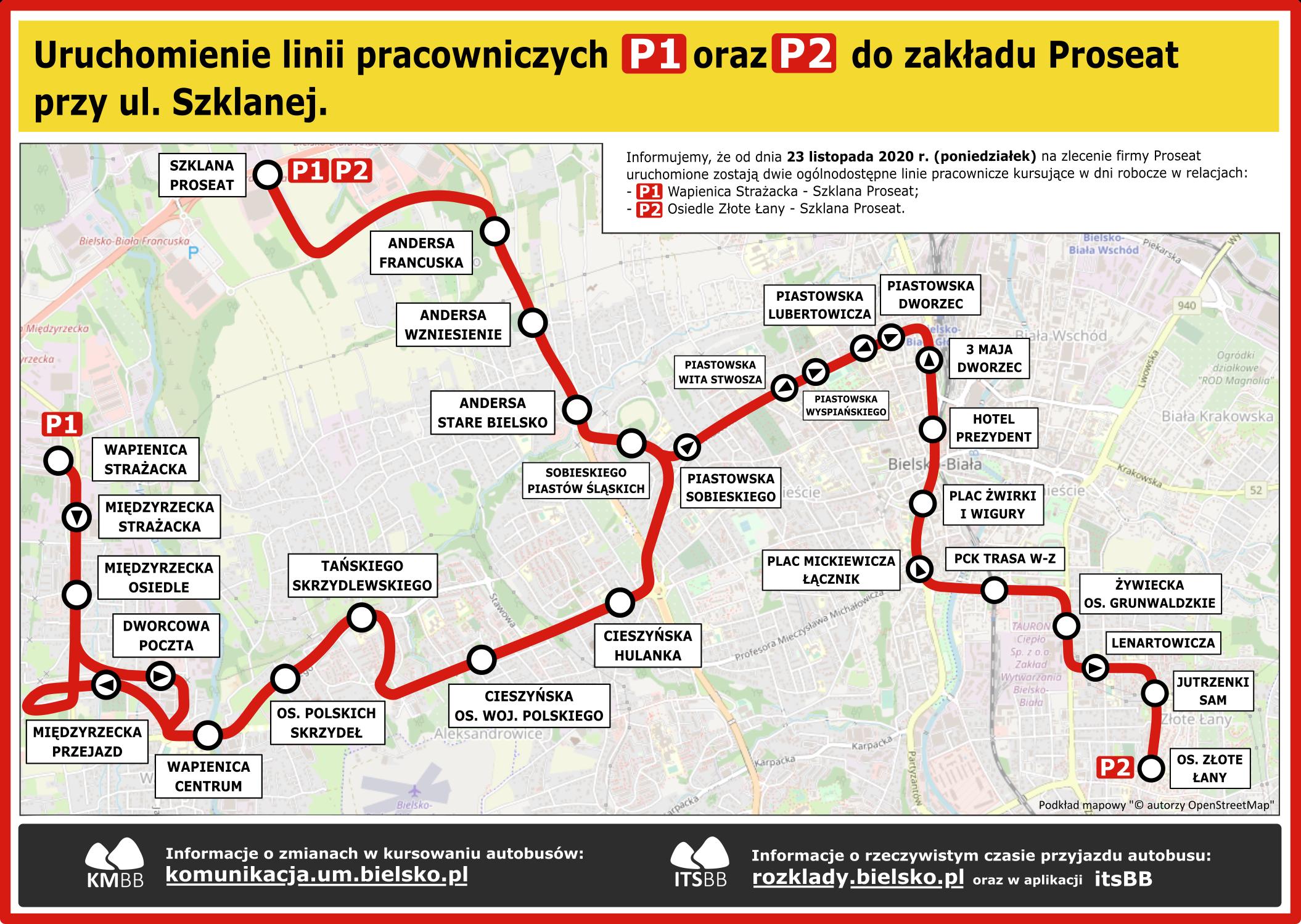 Schemat linii pracowniczych P1 i P2 do zakładu Proseat