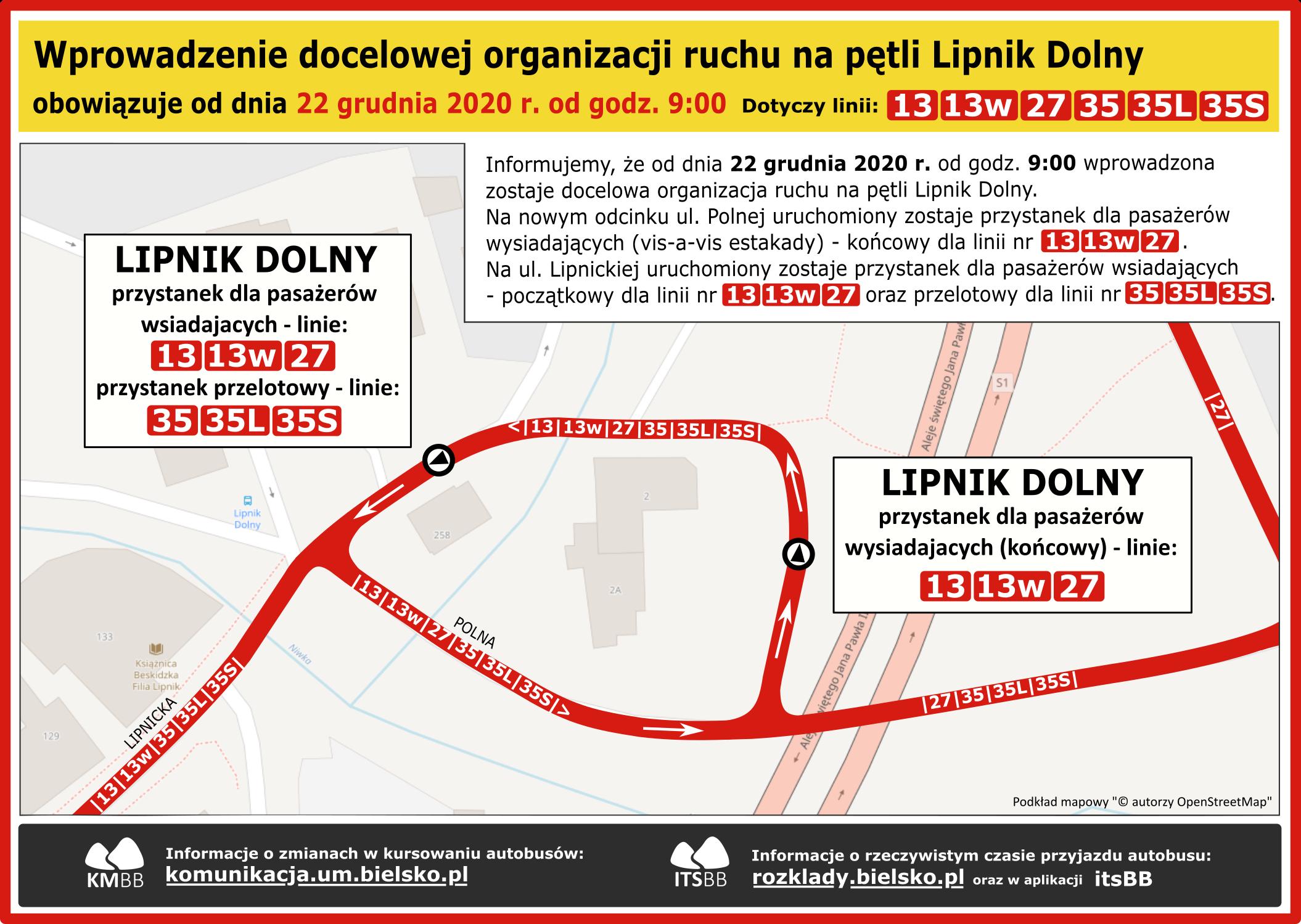 Docelowa organizacja ruchu na pętli Lipnik Dolny