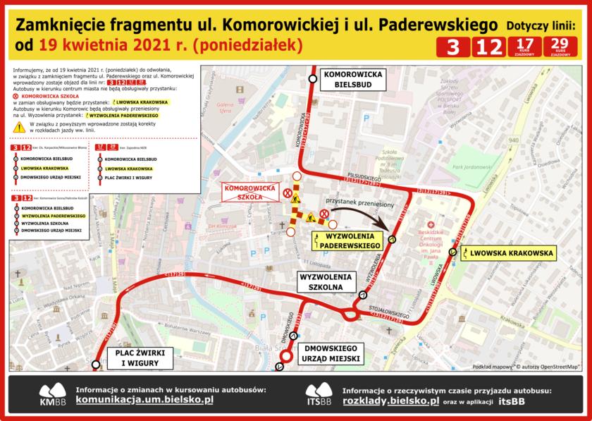 Komorowicka-Paderewskiego objazd