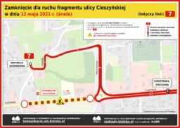 Zamknięcie ul. Cieszyńskiej w Wapienicy