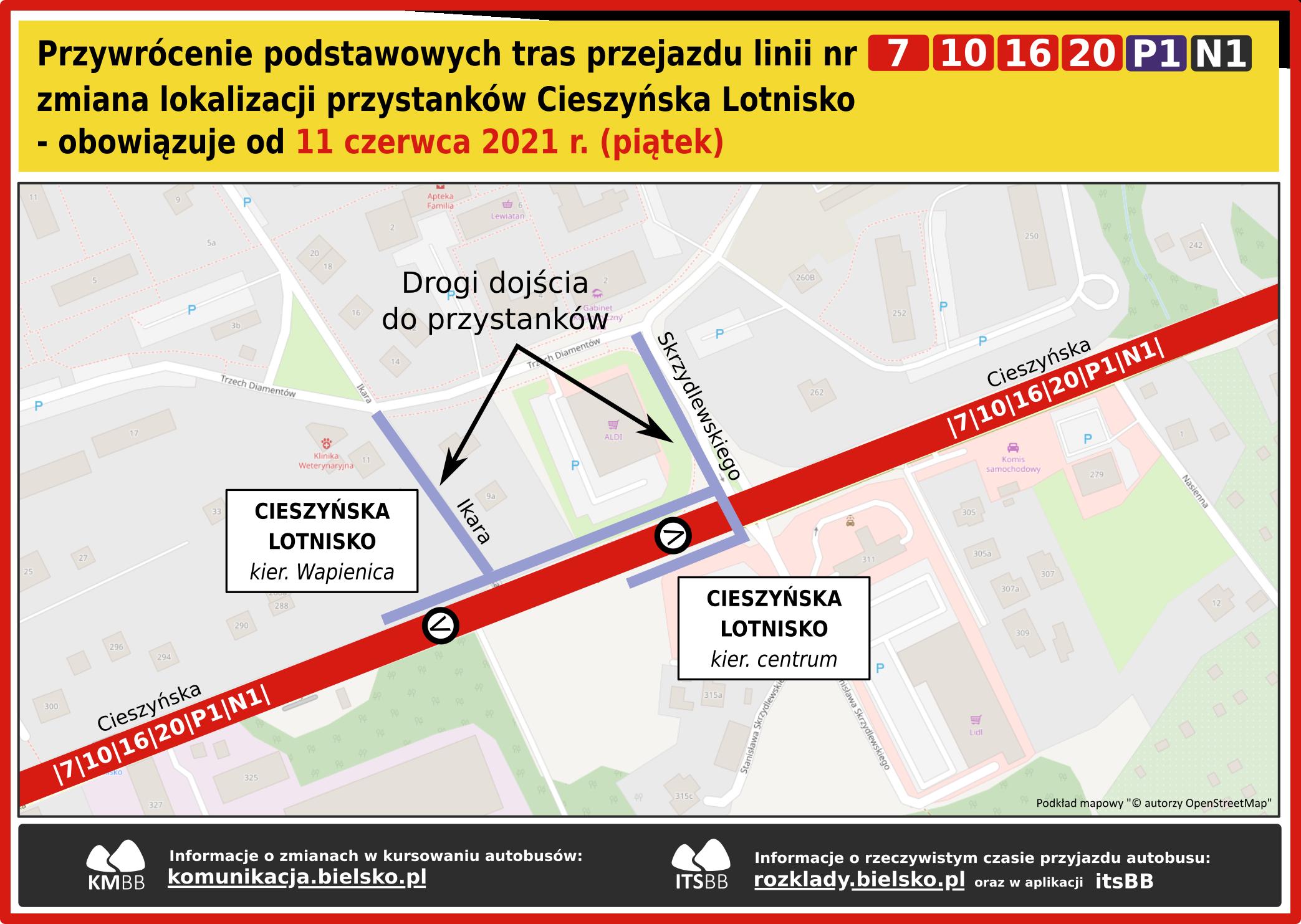 Drogi dojścia do przystanków Cieszyńska Lotnisko